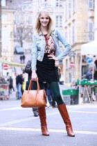 denim H&M jacket - tawny LK Bennett boots - tank Primark top