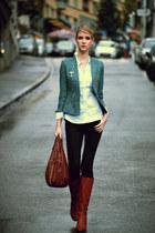 green blue H&M blazer - beige LK Bennett boots - black Primark jeans
