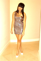 silver f21 dress - white Chanel shoes - silver Express earrings