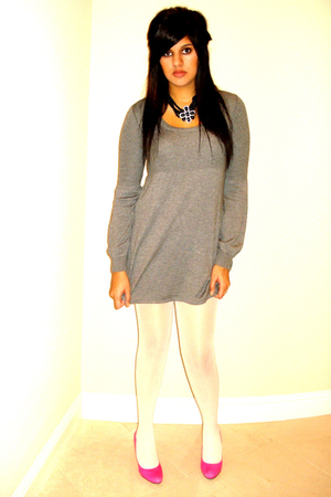 pink pink heels Jessica Simpson shoes - gray sweater dress H&amp;M dress