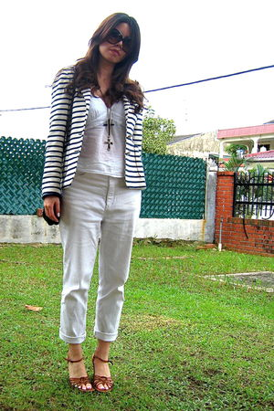 Zara blazer - white Fox blouse - white hand me down pants - brown Topshop shoes