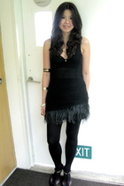 black Zara top - black Zara skirt - black Topshop tights - Charles & Keith shoes