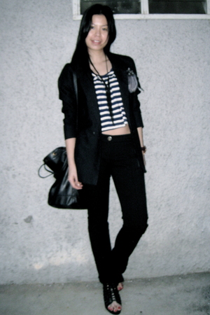 black hand me down blazer - black Mango pants - random brand from Bangkok top -