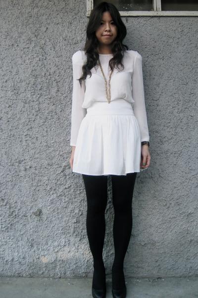 White Skirt Black Tights 79