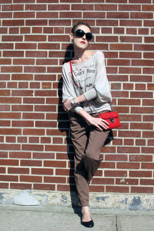 red calvin klein bag - black 7eye sunglasses - brown asos pants