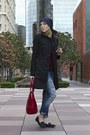 Black-dkny-coat-blue-american-eagle-outfitters-jeans-navy-asos-hat
