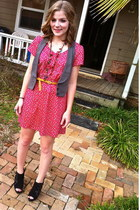 hot pink Forever21 dress - gray Charlotte Russe vest - mustard Forever 21 belt