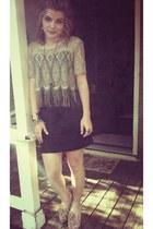 black corset Charlotte Russe top - beige fringe Goodwill top