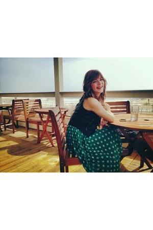 Charlotte Russe vest - green Forever 21 skirt - Charlotte Russe top