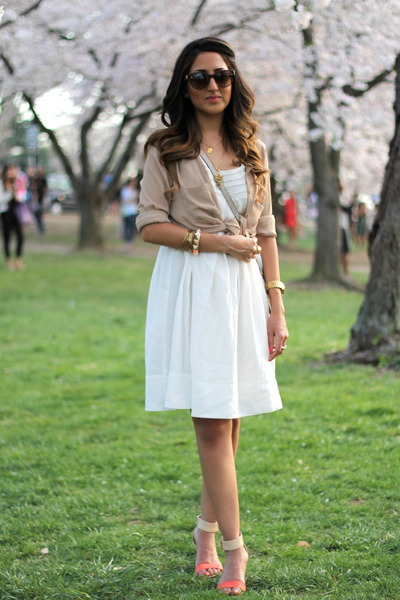 white Zara dress - nude sam edelman wedges - neutral Forever 21 blouse