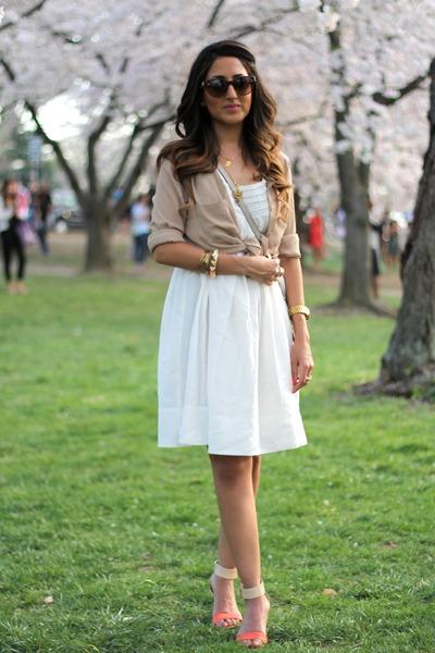 white Zara dress - nude sam edelman wedges - neutral Forever 21 blouse