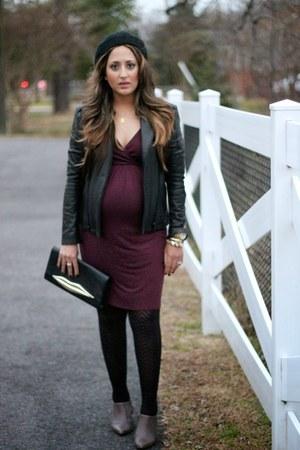 black H&M hat - heather gray Zara boots - magenta Asos Maternity dress