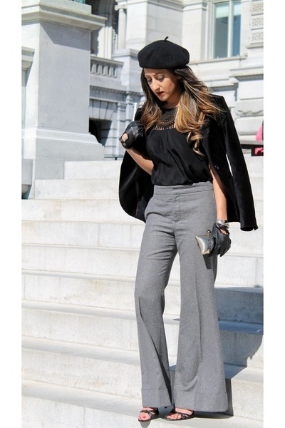 black Zara jacket - gray Selfridge pants
