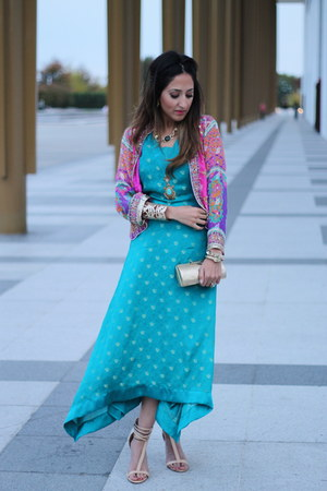 hot pink Haute Heritage jacket - turquoise blue Haute Heritage dress