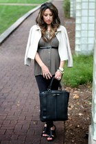 cream banana republic coat - black H&M leggings - olive green Forever 21 shirt