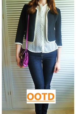 black H&M blazer - navy new look jeans - magenta Mulberry bag - ivory H&M blouse