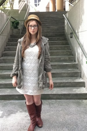 knee high BDG boots - lace Loft dress - army hm jacket
