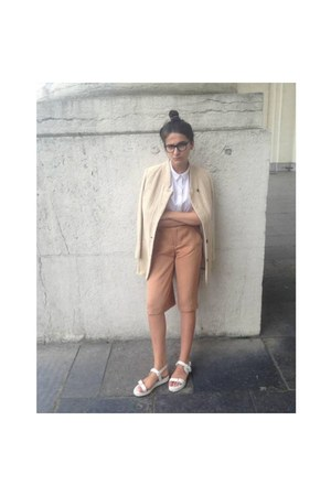 white COS top - neutral Zara coat - gold Zara shorts - white Zara sandals