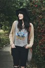 Leather-hibou-boots-black-floppy-free-people-hat-knit-forever-21-cardigan