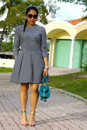 navy fit and flare Gap dress - teal coach madison coach purse