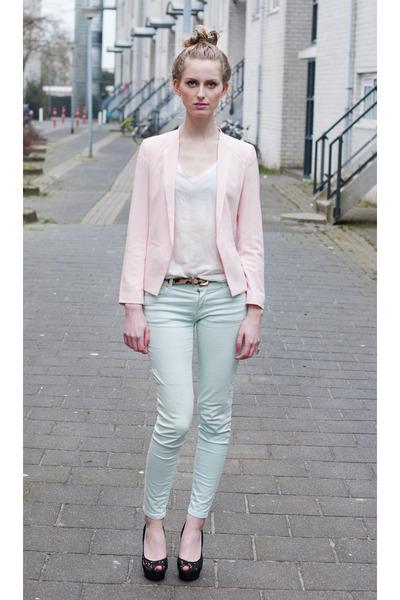 Mango blazer - Zara coat - Zara jeans - Mango bag - Zara heels - Zara t-shirt