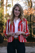 red Luella for Target blazer - tan Clarks boots - navy Levis jeans