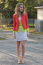 heather gray Gap dress - coral Target blazer - chartreuse Gap cardigan