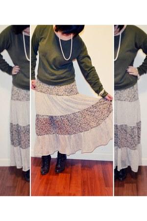 light pink Marshalls skirt - green Forever21 sweater