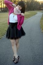 pink anne taylor loft cardigan - beige Forever21 top - white Forever21 shirt - b