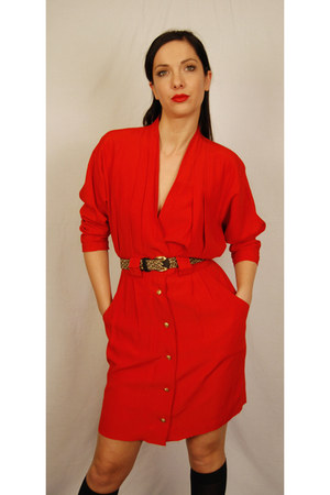 red Vintage from Etsy - MODA INTL dress - dark khaki thrifted vintage belt