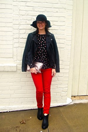 wool thrifted hat - leather Kork ease boots - faux leather kohls jacket