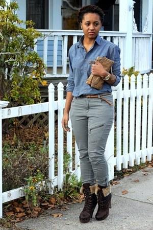 dark brown sam edelman boots - navy American Apparel shirt