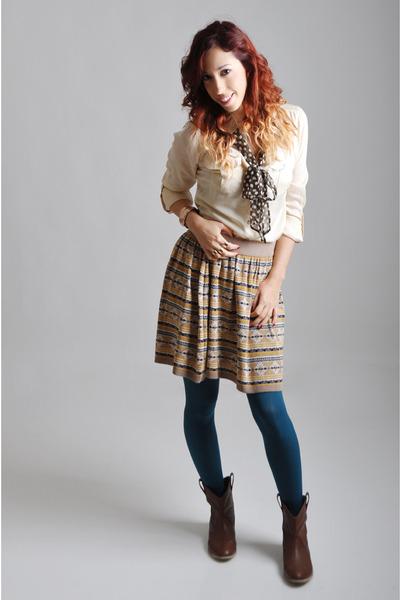 asos blouse - H&M boots - asos tights - asos scarf - asos skirt