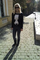 panda print Atmosphere t-shirt - H&M boots - H&M jeans - Topshop jacket