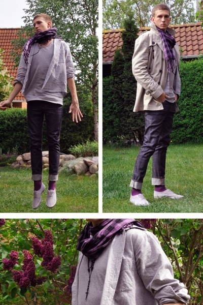 Zara jacket - Compromis scarf - H&amp;M t-shirt - second hand shop shirt - Cheap Mon