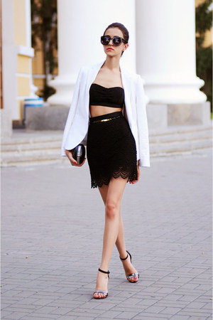 white Zara coat - black Mango skirt