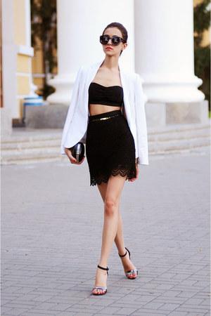 white Zara coat - black Mango skirt
