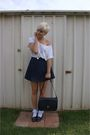 White-shirt-white-socks-blue-skirt-blue