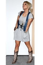Urban Outfitters dress - Seduction vest - Browns boots