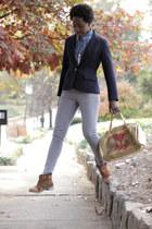 navy wool vintage blazer - leather sude Boutique Nine boots