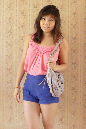 light purple Guess bag - blue Forever 21 shorts - salmon etam top