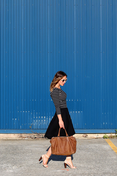 black striped H&M shirt - brown leather bag ROOTS bag