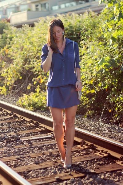 silver vintage bag - blue shirtdress silk Joe Fresh dress