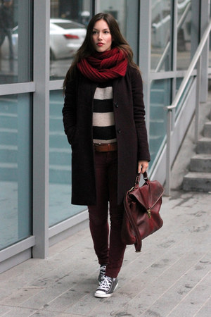 crimson wool Aritzia coat - maroon Raven Denim jeans - beige striped H&amp;M sweater