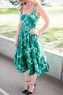 Green-printed-zara-dress-black-ankle-strap-sole-society-heels