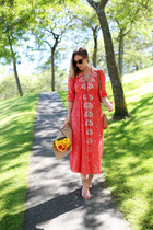 brown leather Rebecca Minkoff bag - red bohemian free people dress