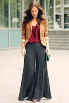 camel Spank blazer - turquoise blue Rebecca Minkoff bag - magenta H&M blouse
