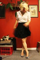 white TeenFlo blouse - black H&M skirt - black Alfred Sung for Zellers shoes