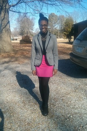 charcoal gray Target blazer - hot pink The Limited skirt