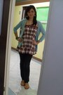 Dark-blue-levis-jeans-red-checkered-thrift-store-top-light-brown-cozy-sandal